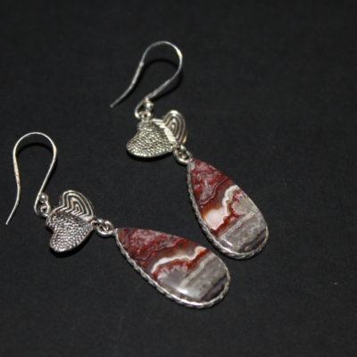 Boucles d'oreilles en argent avec mexican laguna lace agate